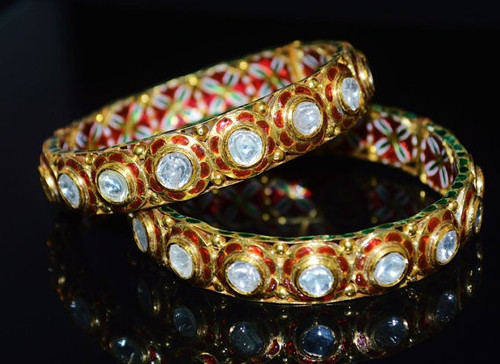 Estate Solid 22K 18K Solid Gold Large Diamond Enamel Bangles Bracelets Pair