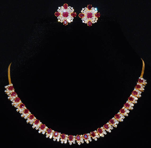 Certified Natural 21.5CTS VS F Diamond Ruby 18K Solid Gold Riviera Necklace Earrings Set