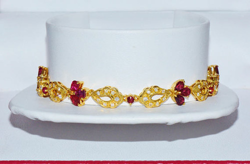 Certified Natural 5.64CTS VS F Diamond Ruby 18K 750 Solid Gold Bracelet
