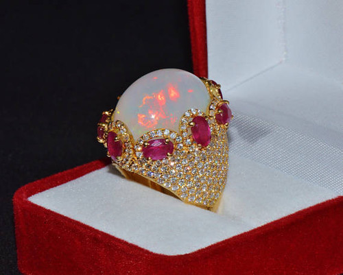 Certified Natural 27.6CTS VS F Diamond Opal Ruby 18K Solid Gold Dome Ring