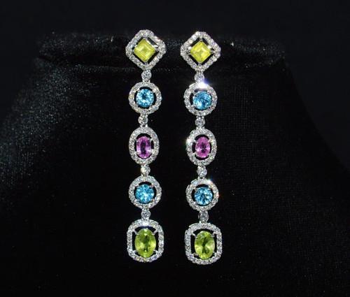 Certified Natural 10CTS VS F Diamond Peridot Tourmaline Topaz Dangle Earrings