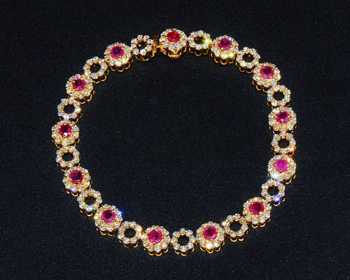 Certified Natural 8.24CTS VS F Diamond Ruby 18K Solid Gold Tennis Statement Bracelet