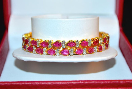 Certified Natural 10.35CTS VS F Diamond Ruby 18K Solid Gold Stackable Single Bangle