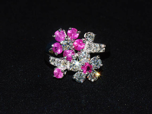 Certified Natural 2.8CTS VS F Diamond Ruby 18K Solid Gold Floral Bypass Ring