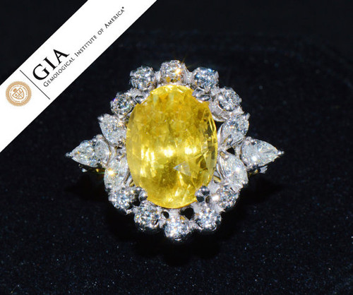 GIA Certified Natural 11CTS VS F Diamond Ceylon No Heat Sapphire 18K Solid Gold Dome Ring