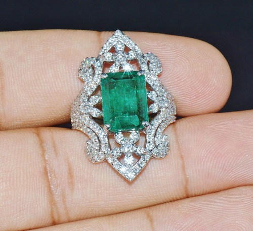Certified Natural 8.6CTS Emerald VS F Diamond 18K Solid Gold Cocktail Ring