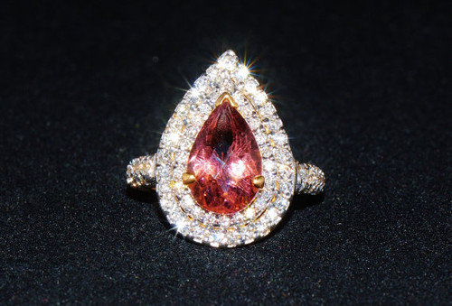 Certified Natural 5CTS VS F Diamond 18K Solid Gold Tourmaline Ring