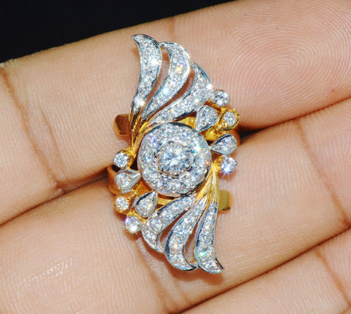 22K Solid Gold CZ Zircon Two Tone Floral Cocktail Ring
