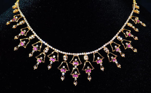Certified Natural 7.2CTS VS G Diamond Ruby 18K Solid Gold Necklace