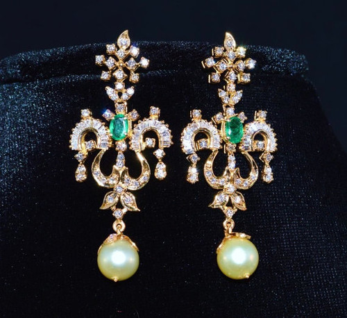 Certified Natural 14CTS VS G Diamond Emerald South Sea Pearl 18K Solid Gold Chandelier Earrings