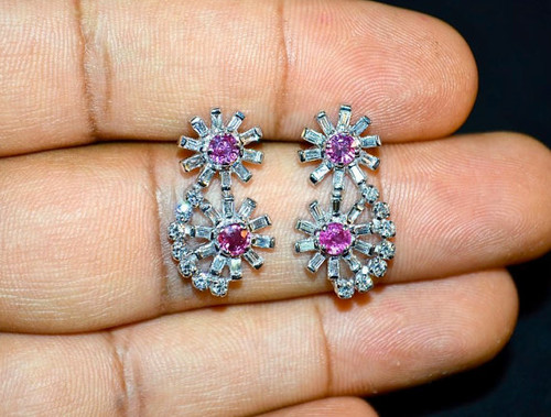 Certified Natural 2.6CTS VS F Diamond Burma Ruby 18K Solid Gold Cluster Earrings