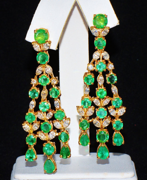 Certified Natural 16CTS VS F Diamond Emerald 18K Solid Gold Chandelier Earrings