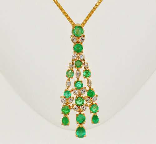 Certified Natural 10.34CTS VS F Diamond Emerald 18K Solid Gold Slide Pendant Necklace