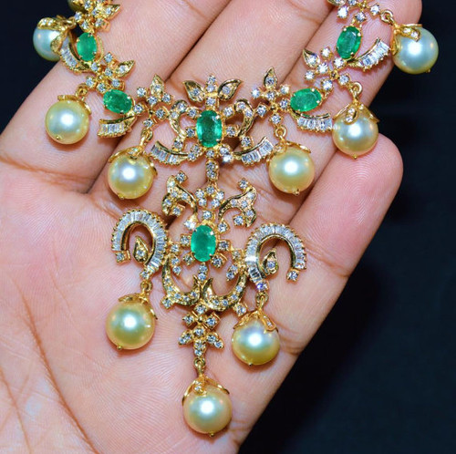 Certified Natural 94CTS VS G Diamond Emerald South Sea Pearl 18K Solid Gold Necklace