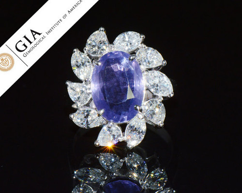 GIA Certified Natural 7CTS VS F Solitaire Diamond Color Change Sapphire 18K Solid Gold Cocktail Ring