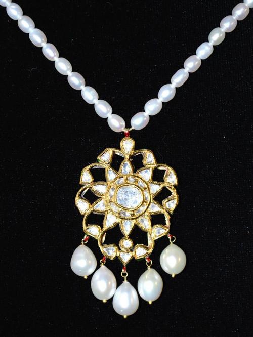 Estate 22K Solid Gold Diamond Pearl Enamel Reversible Pendant Necklace