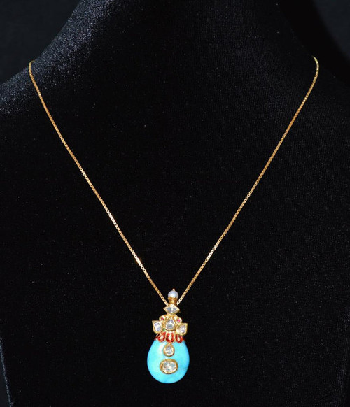 Estate 22K 24K Solid Gold Diamond Turquoise Ruby Pearl Reversible Pendant Necklace