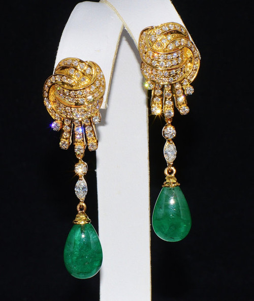 Certified Natural 23.2CTS VS F Diamond Emerald 18K Solid Gold Dangle Earrings