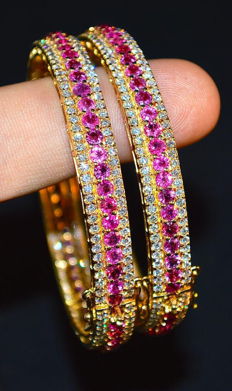 Certified Natural 15.6CTS VS F Diamond Ruby 18K Solid Gold Stackable Single Bangle