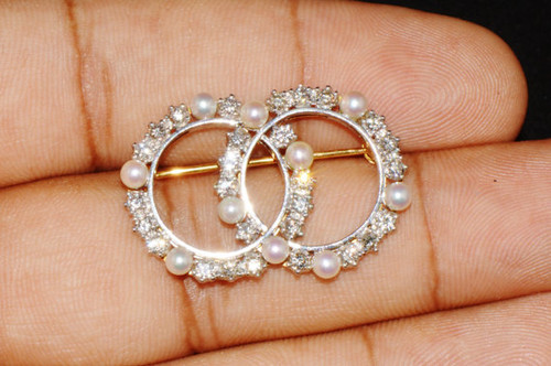 Gorgeous Estate1.25Cts VS G Diamond Pearl 18K Solid Gold Platinum Brooch