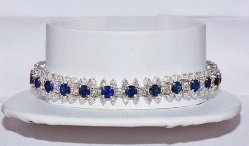 Certified Natural 11CTS VS F Diamond Ceylon Sapphire 18K 750 Solid Gold Tennis Statement Bracelet