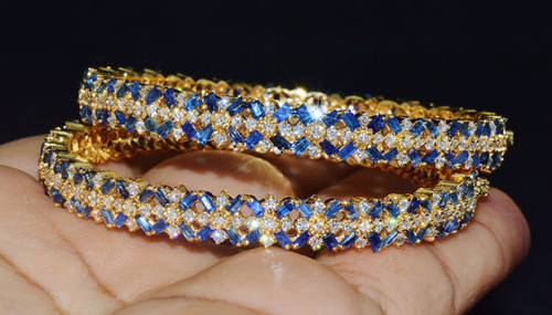 Certified Natural 25.2CTS VS F Diamond Sapphire 18K Solid Gold Bangles Pair