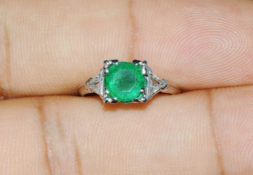 Certified Natural 2CTS VS G Diamond Emerald Solid 900 Platinum Three Stone Ring