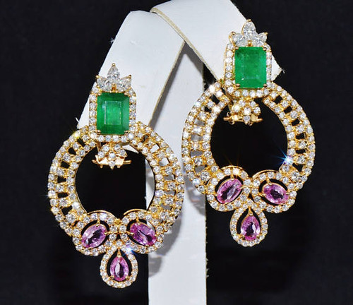 Certified Natural 11.8CTS VS F Diamond 18K Solid Gold 2-IN-1 Chandelier Cluster Earrings