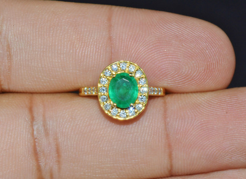 Certified Natural 1.63Cts VS F Diamond Emerald 18K Solid Gold Engagement Halo Ring