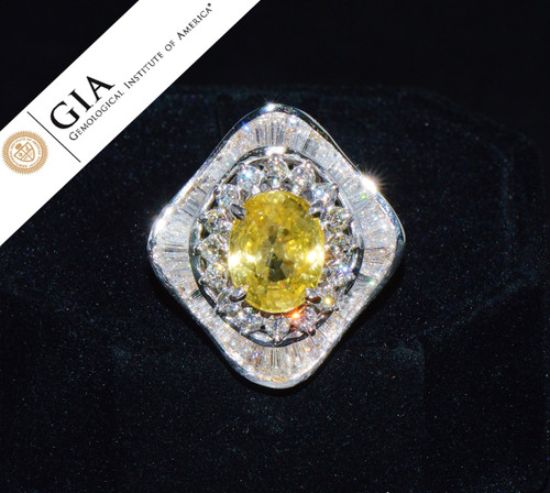 GIA Certified Natural 8.7CTS VS F Diamond Yellow Sapphire 18K Solid Gold Dinner Dome Ring