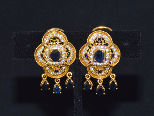 22K 22C Solid Gold Sapphire Cubic Zircon Cluster Riviera Dangle Earrings