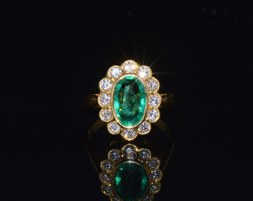 Certified Natural 3Cts VS F Diamond Emerald 750 18K Solid Gold Dinner Halo Ring