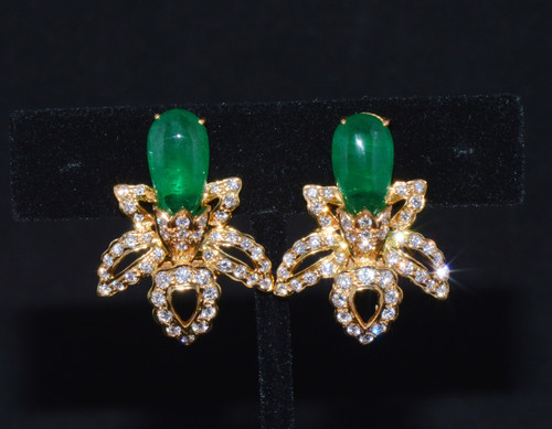 Certified Natural 11.47Cts VS F Diamond Emerald 18K Solid Gold Floral Cluster Earrings