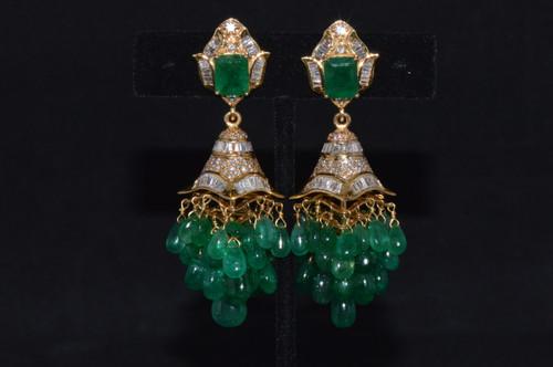 Certified Natural 101.7Cts VS F Diamond Emerald 18K Solid Gold 2-IN-1 Chandelier Dangle Earrings