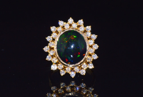 Certified Natural 7.1CTS VS F Diamond Black Opal 18K Solid Gold Halo Ring