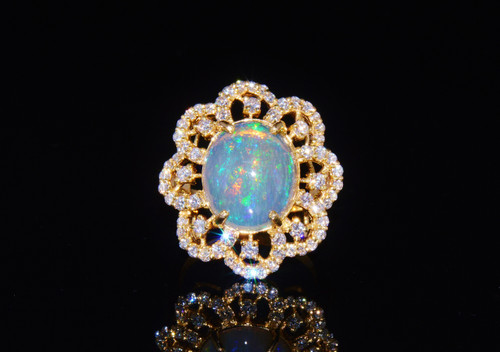 Certified Natural 6.29CTS VS F Diamond Opal 18K Solid Gold Floral Ring