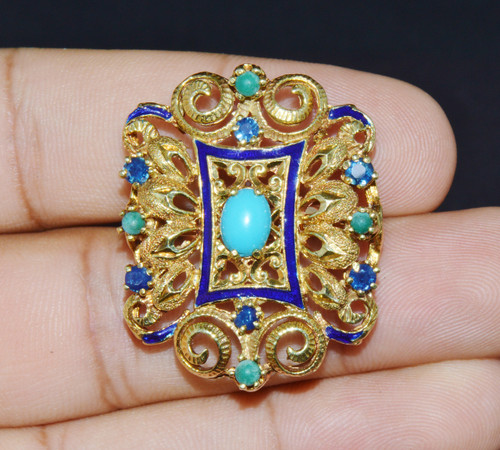 Estate Natural Sapphire Turquoise Enamel 18K Solid Gold Cocktail Floral Ring