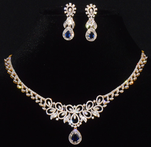 Certified Natural 9.53Cts Diamond Sapphire 18K Solid Gold Necklace Earrings Set