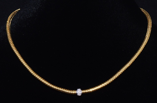 Authentic Roberto Coin 18K 750 Yellow White Gold Diamond Mesh Primavera Necklace