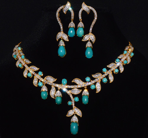 Natural 48.6Cts VS F Diamond Turquoise 18K Solid Gold Necklace Earrings Set