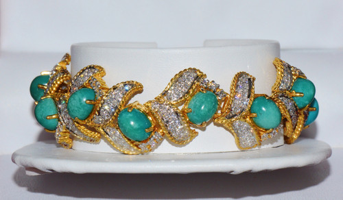 Certified Natural 29Cts Diamond Turquoise 18K Solid Gold Bangle Bracelet