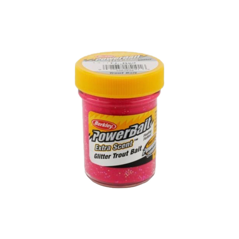 PowerBait Extra Scent Trout Bait With Glitter, 50 g In Florescent Red