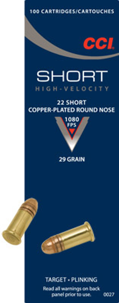CCI 22 Short, 27 Gr Copper-Plated RN, 100 ct