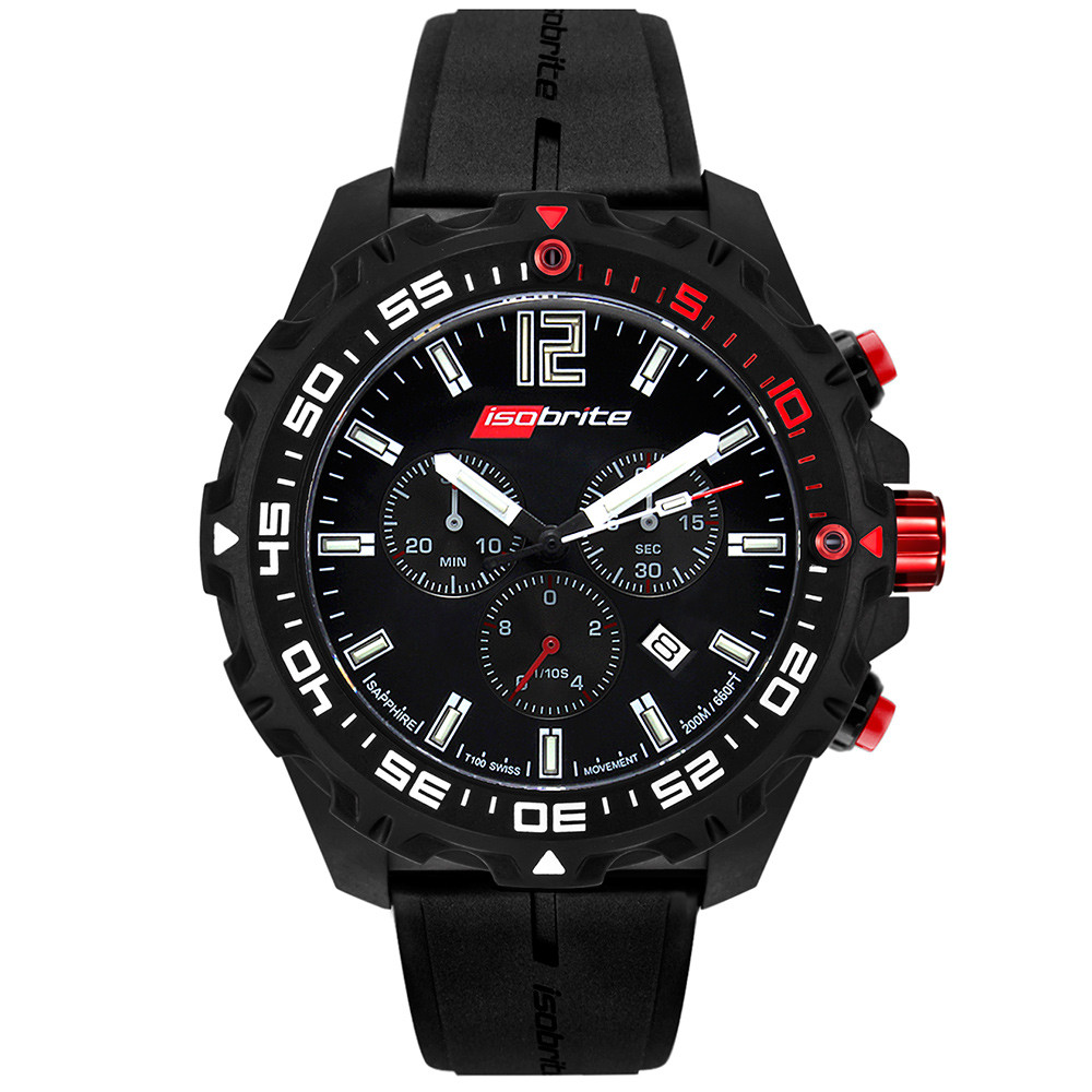 Isobrite Valor Series, Chronograph - Black & Red Dial