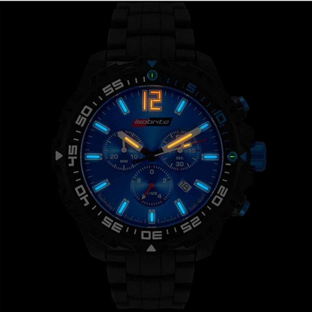 Isobrite Valor Series, Chronograph - Blue Dial - Illumination: Swiss-Made T100 tritium markers