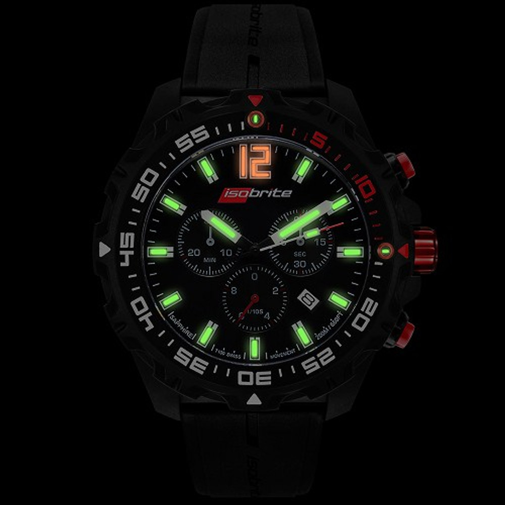 Isobrite Valor Series, Chronograph - Black & Red Dial - Illumination: Swiss-Made T100 tritium markers