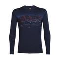 Icebreaker Men's Oasis LS Sky Night Crewe - Midnight Navy
