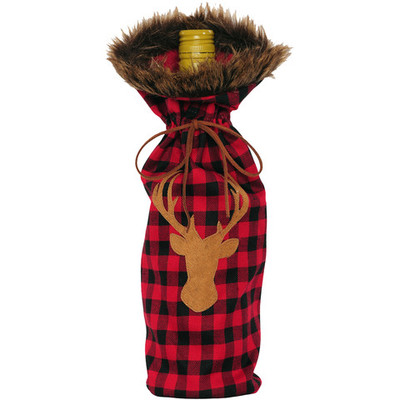Bottle Cover, Red Plaid Deer