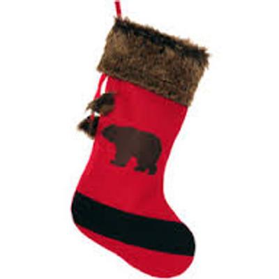 Christmas Stocking, Red Blanket Bear