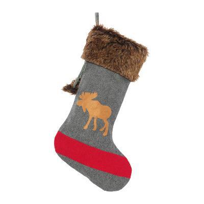 Christmas Stocking, Grey Blanket Moose
